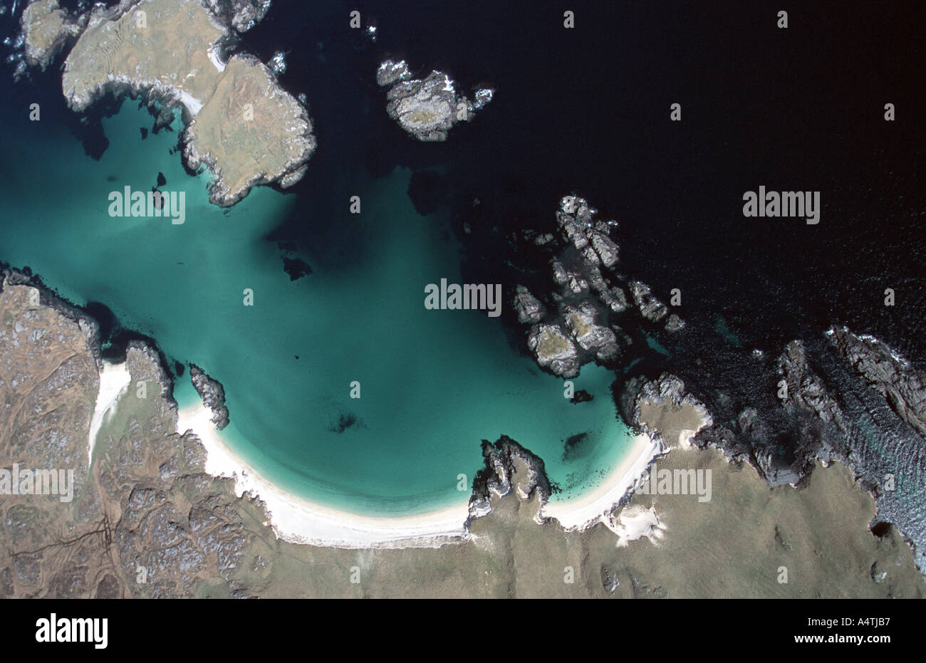 Aerial view of Outer Hebrides coastline - Stock Image