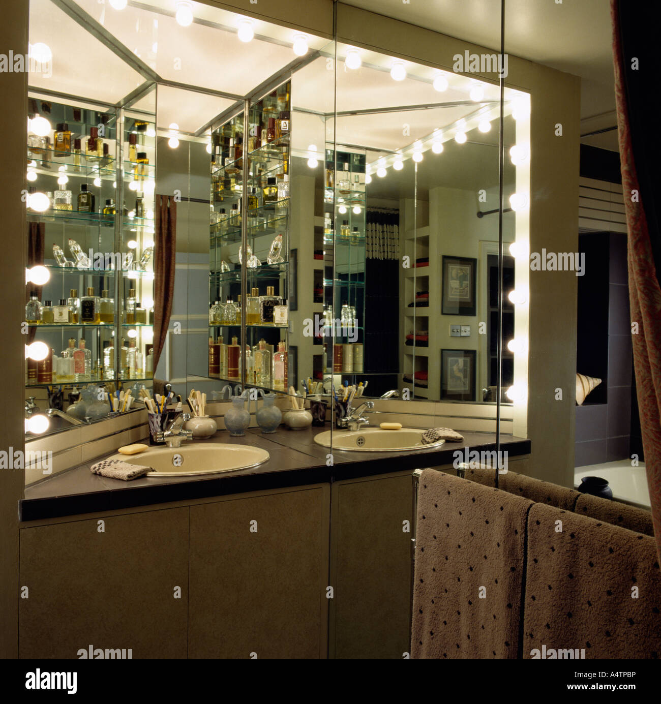 Hollywood Lights Bathroom: Interiors Bathrooms Archival Domestic Stock Photos