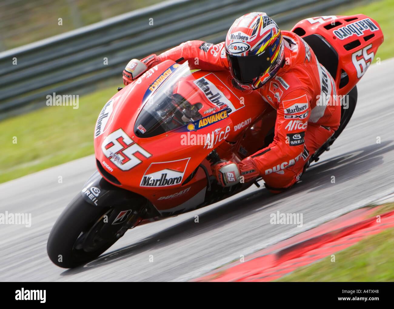 MotoGP rider Loris Capirossi racing at the Sepang International Circuit, Malaysia - Stock Image