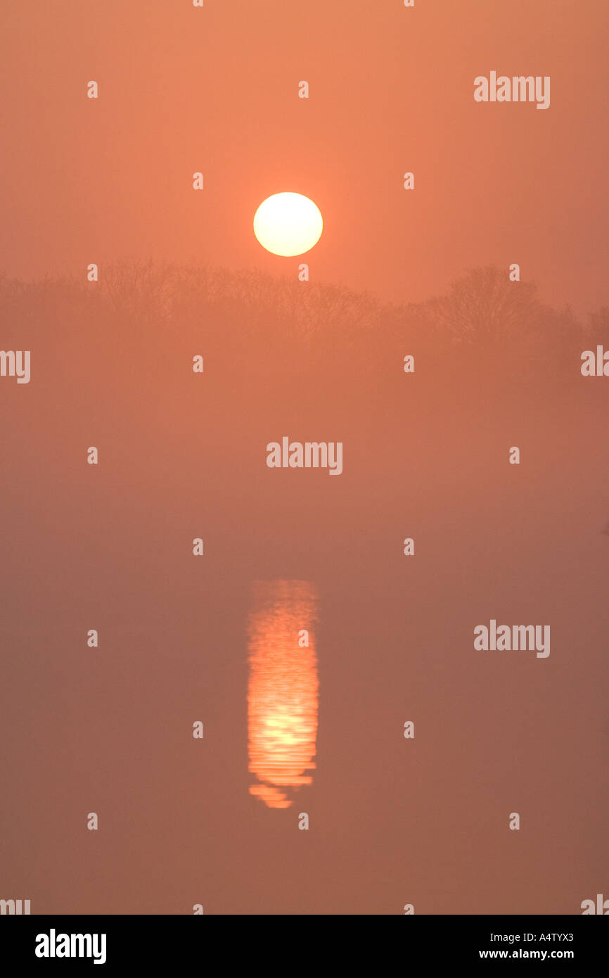 Misty Sunrise over Hickling Broad Norfolk UK Stock Photo