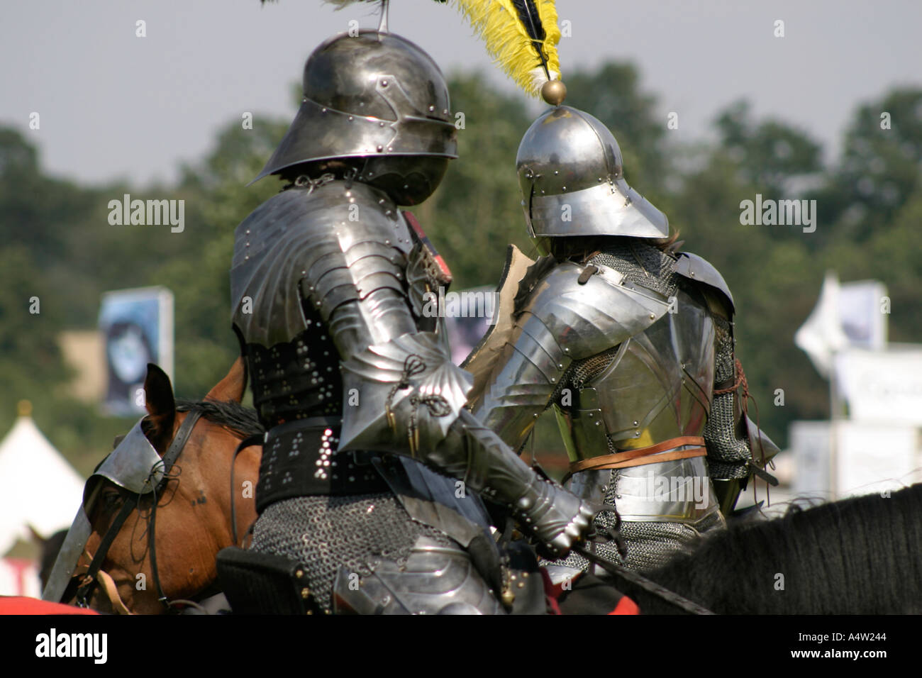 The Black Knight Medieval Jousting Display - Stock Image