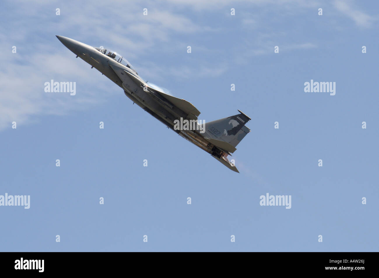 F16 Jet doing a fly by Stock Photo