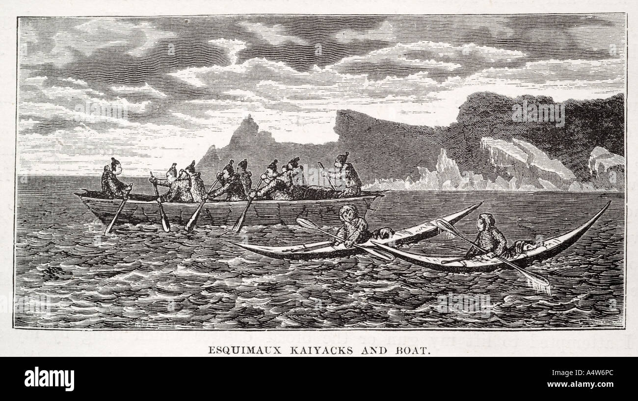 Eskimo Inuit Kayak Canoe Paddle Rowing Boat Sailor Native Fur Clothing Garment Oar Wave Coast Marine