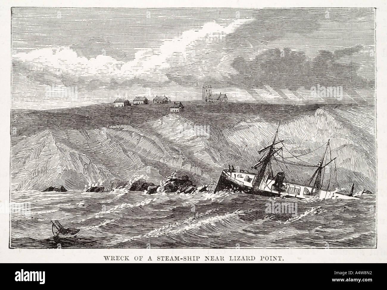 wreck steam ship lizard point storm wave cliff shore smash peril sail founder crash break broken rock coast shore lost wind sea - Stock Image