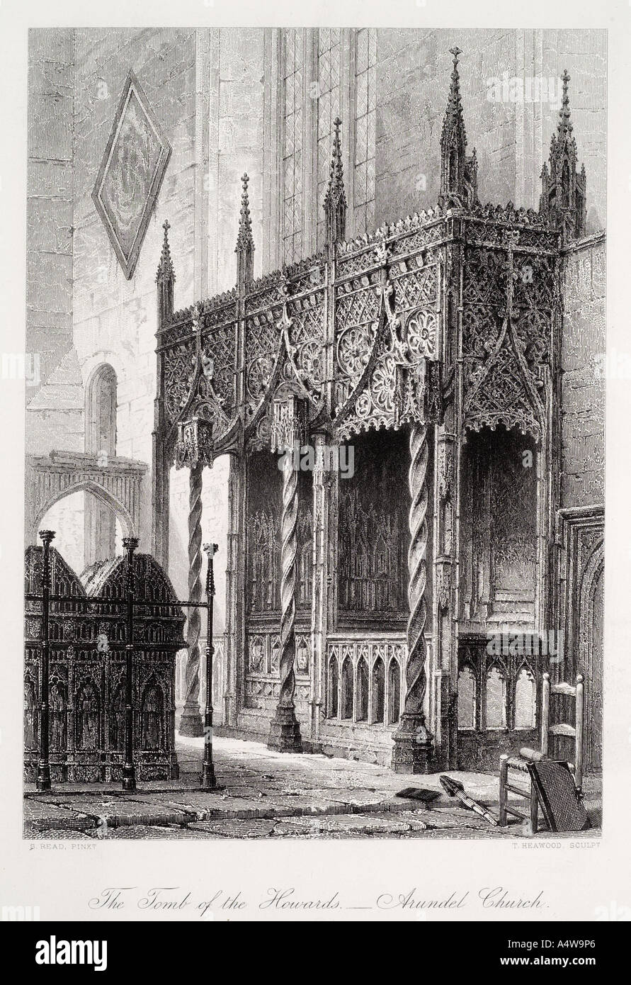 tomb interior Cathedral church Our Lady St Philip Howard Arundel Sussex gothic Christian England UK United Kingdom GB Great Brit - Stock Image