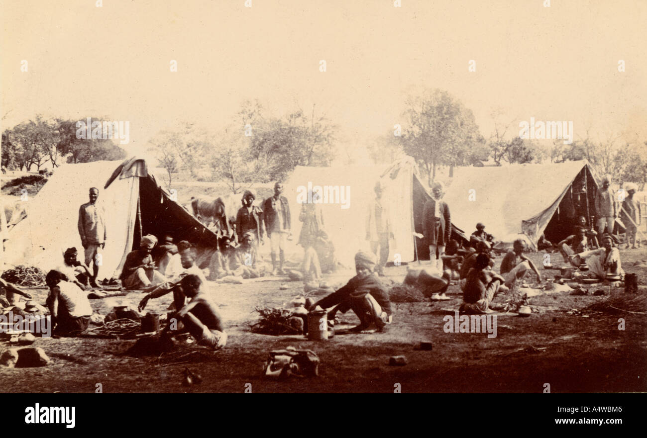 Indian troops cooking and camping in tents at Roorkee India during the first world war around 1916 - Stock Image