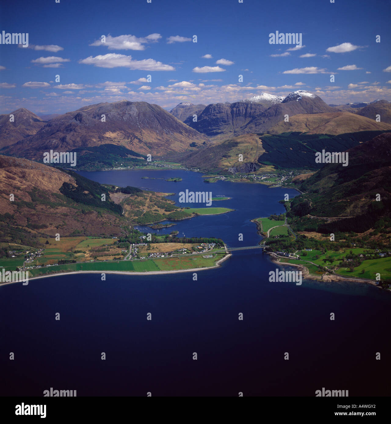 Loch Leven and Glen Coe Highland Scotland aerial view - Stock Image