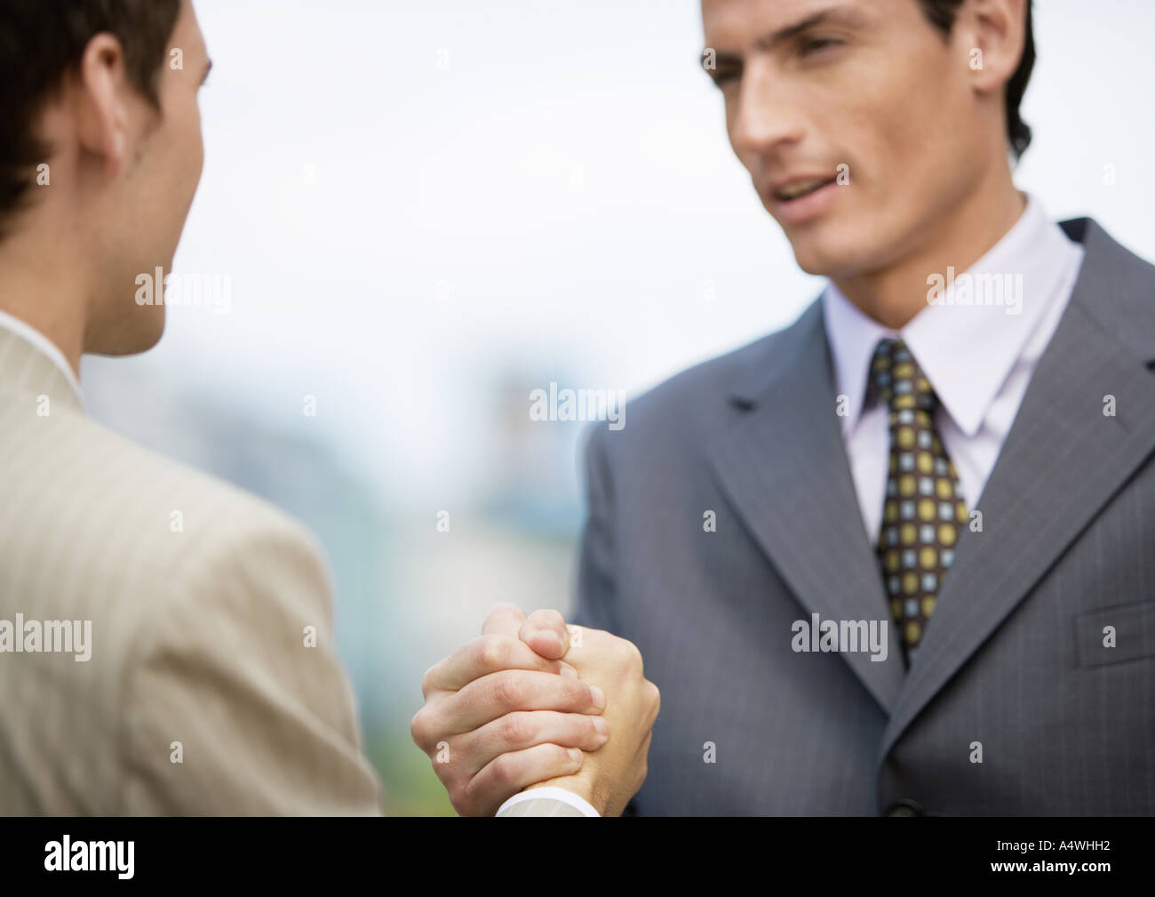 Two businessmen gripping hands Stock Photo