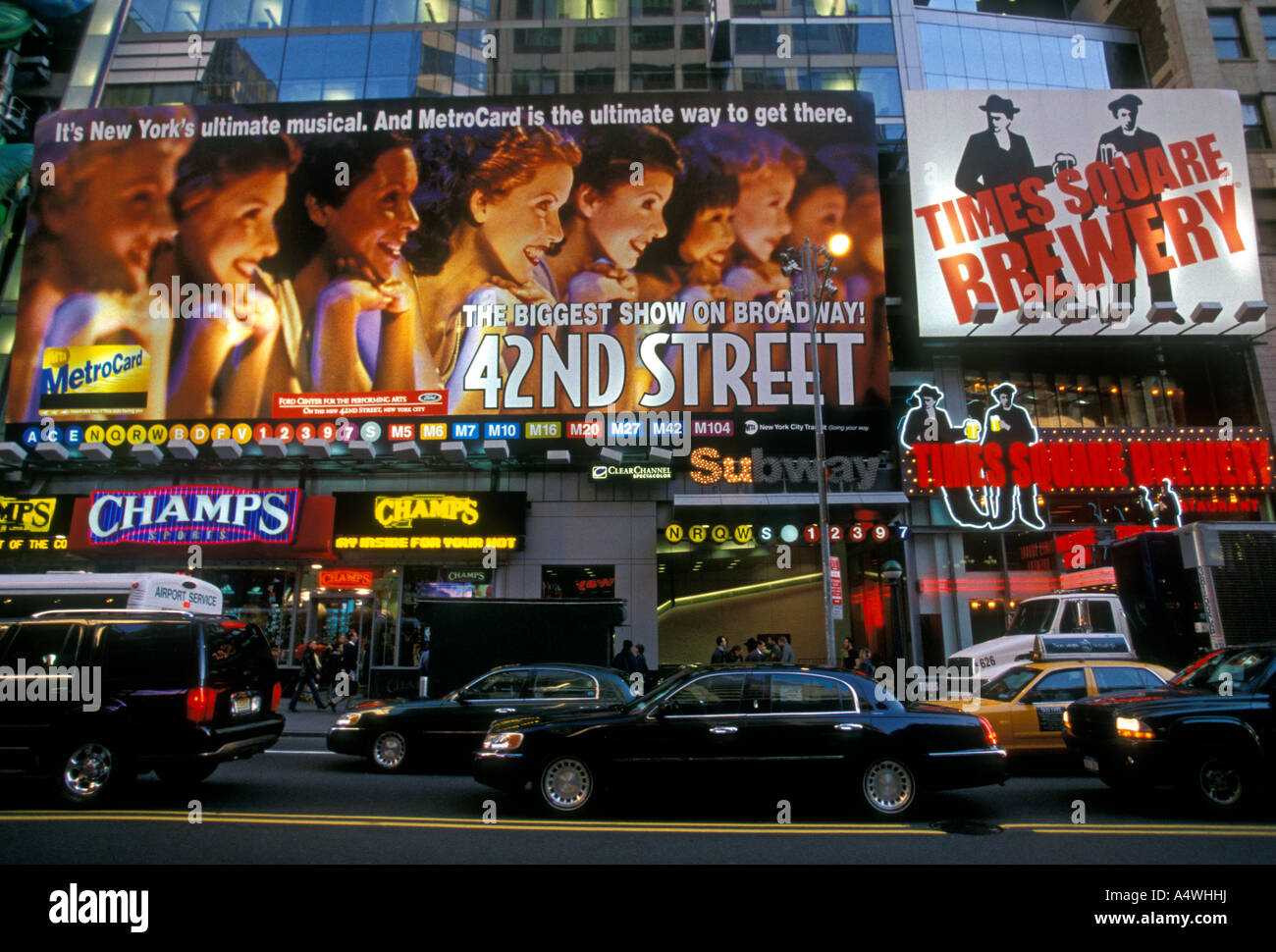 theater district, 42nd Street, Manhattan, New York, United States, North America - Stock Image