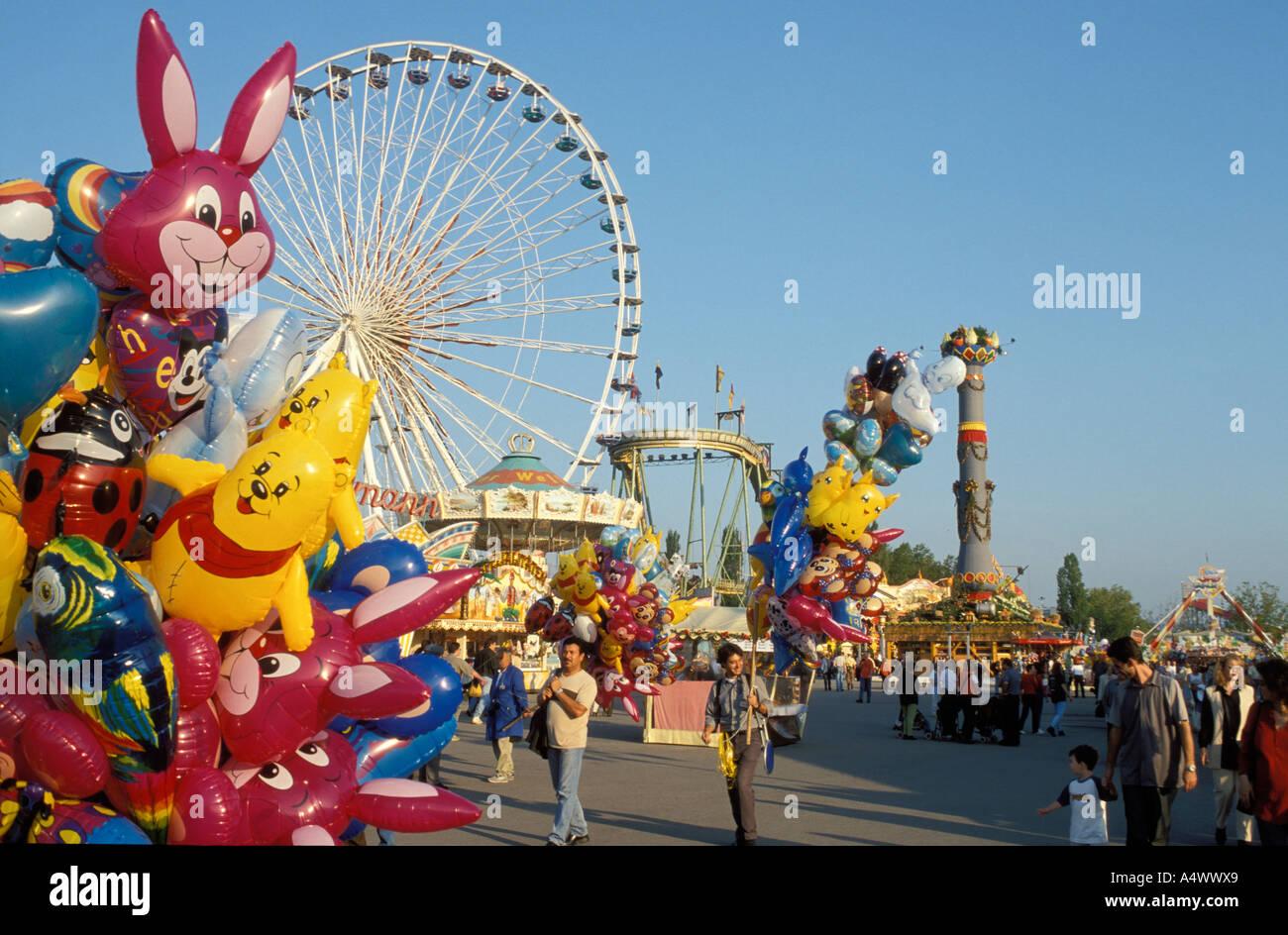 People at the fairground of the festival Cannstatter Volksfest  Stuttgart Baden Wuerttemberg Germany - Stock Image