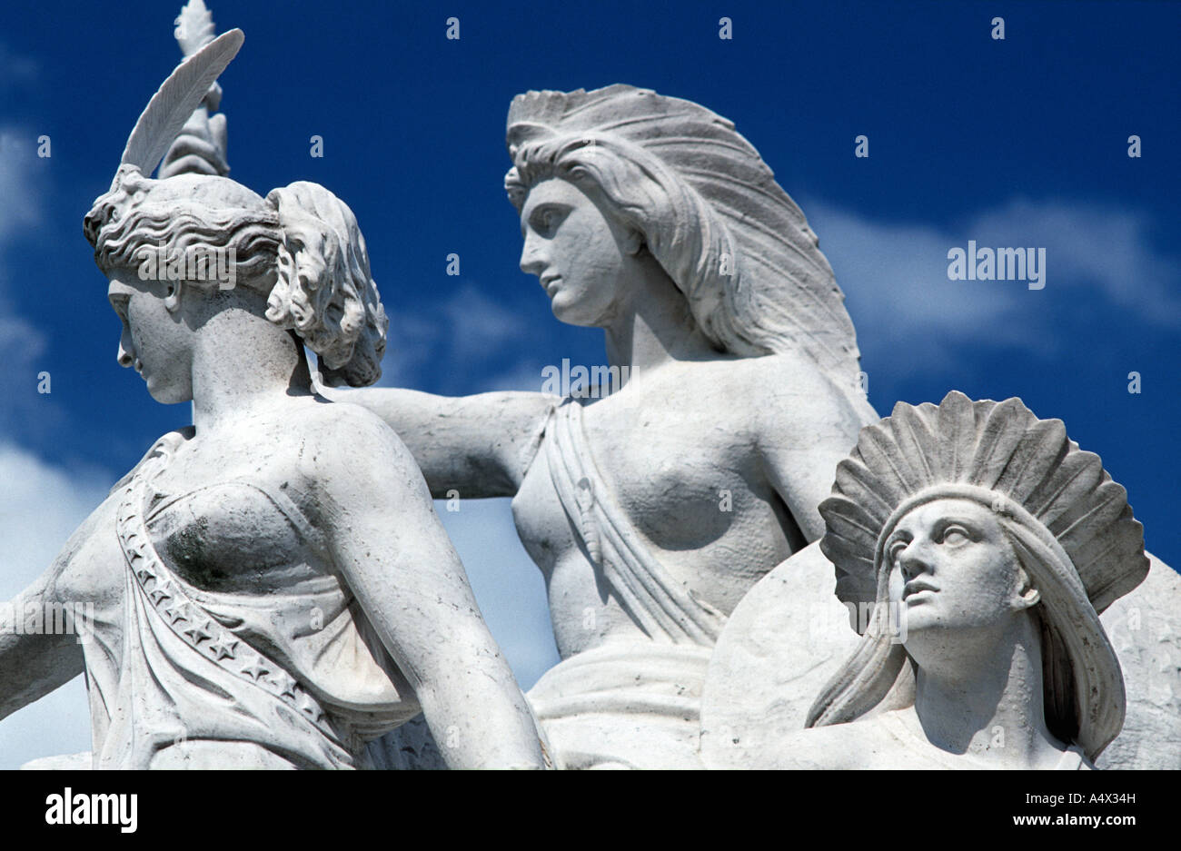 Detail of sculpture dedicated to the continent of America at the Albert Memorial Kensington Gardens London England - Stock Image