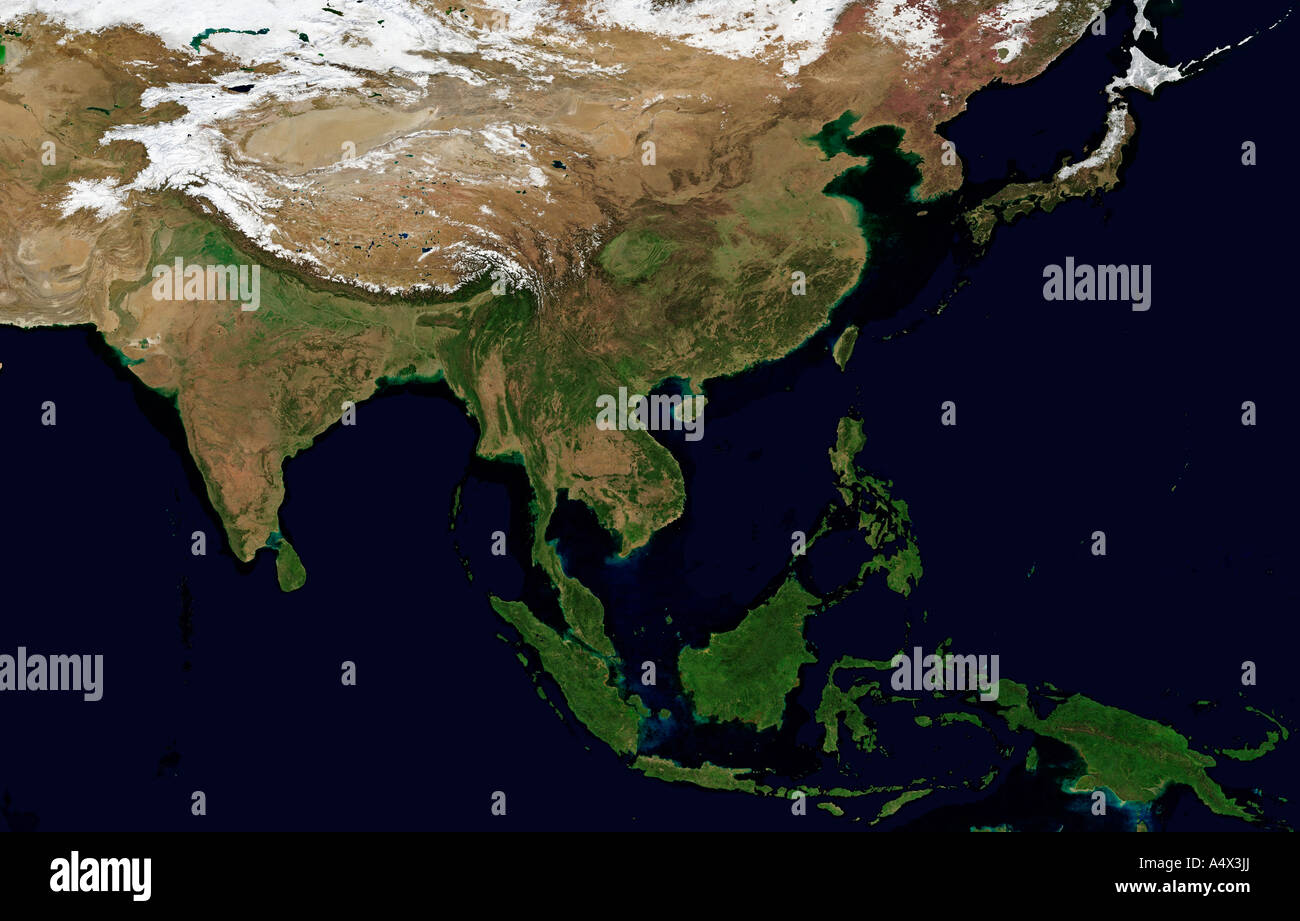 South and Southeast Asia Optimised and enhanced version of an original NASA image - Stock Image
