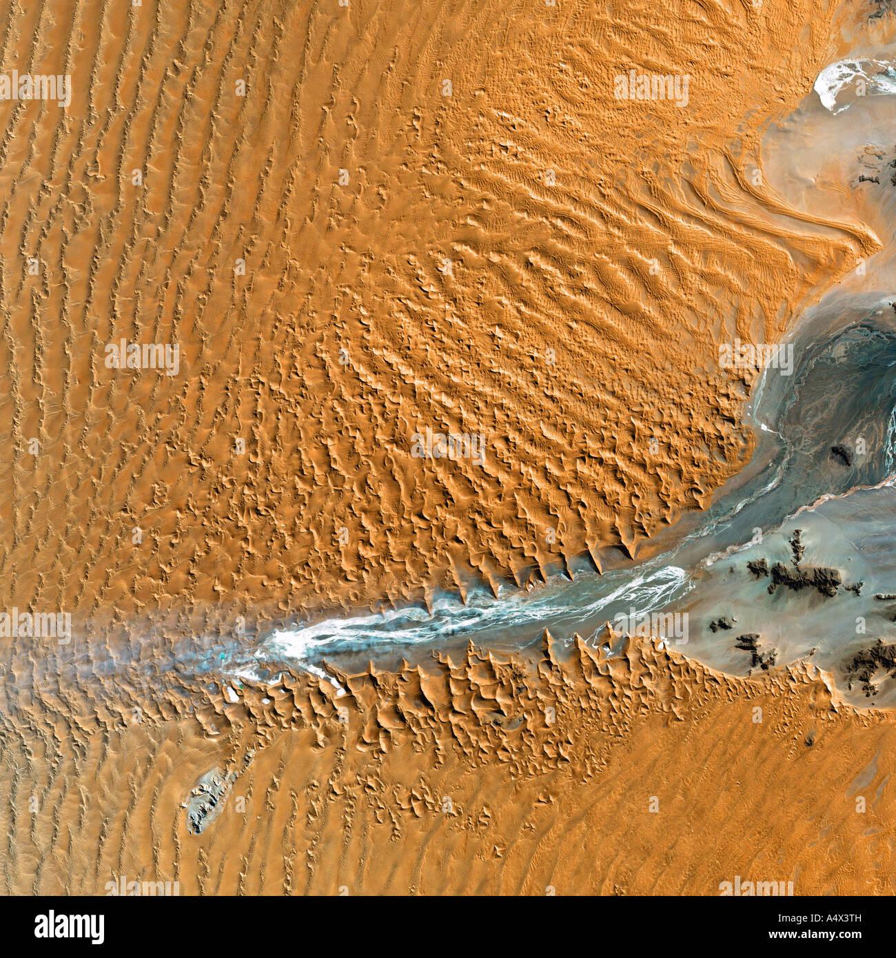 The Namib desert of Namibia seen from space Optimised and enhanced version of an original NASA image - Stock Image