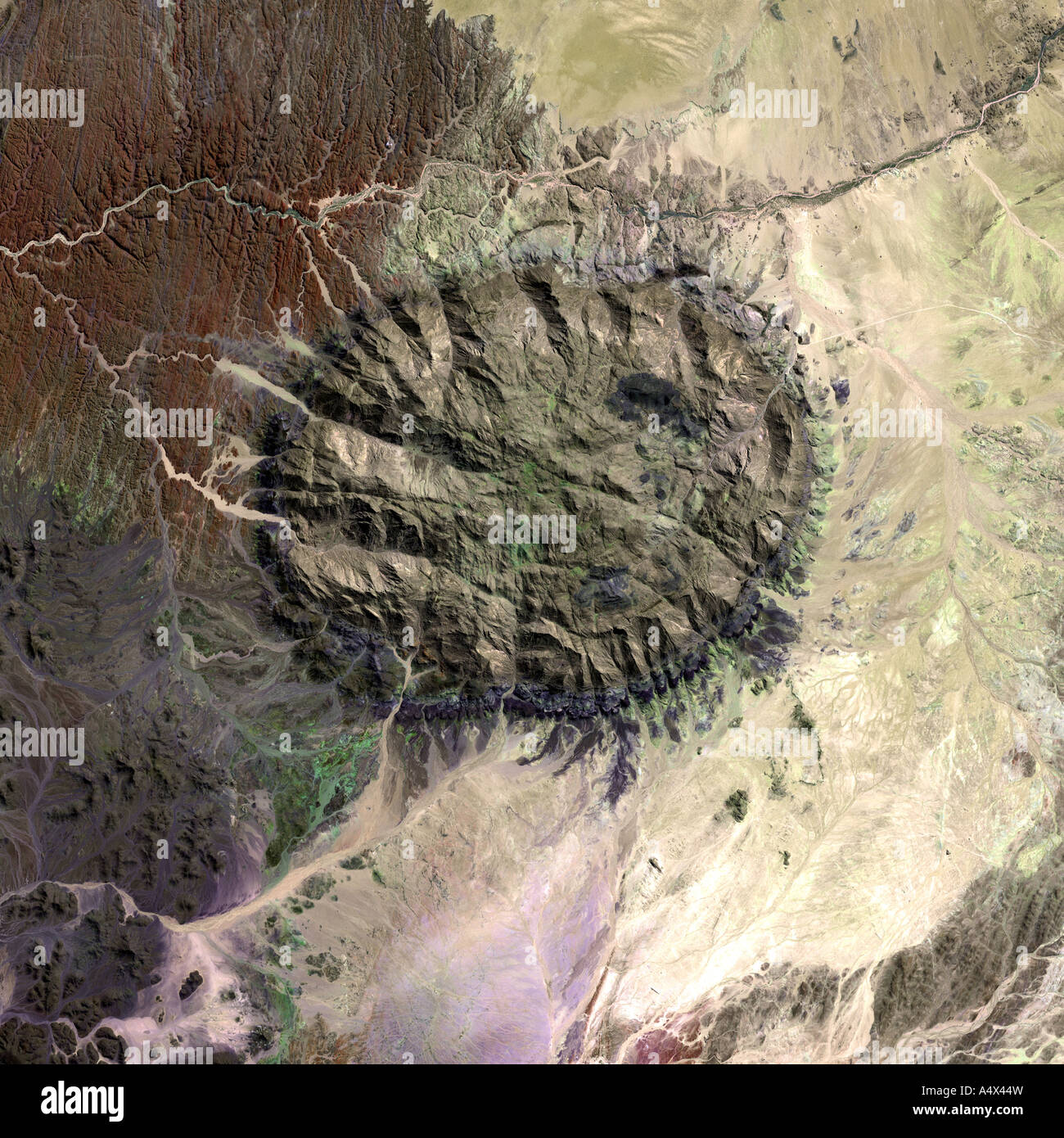 The Brandenberg massif Namibia viewed from space Optimised version of an original NASA image Stock Photo