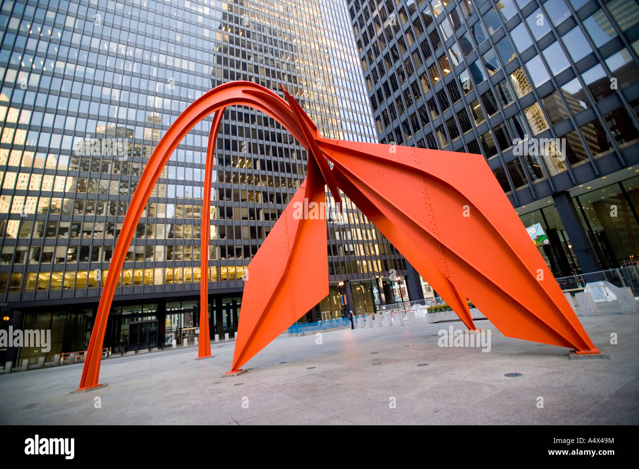 The Flamingo sculpture by Alexander Calder in Federal Center Plaza in Chicago Illinois - Stock Image