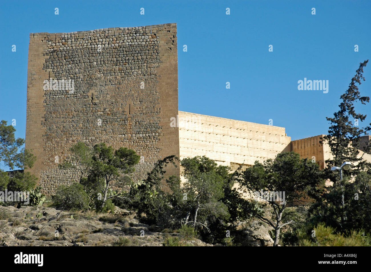 Moorish stronghold, castillo de la Mola, Novelda, Alicante, Costa Blanca, Spain - Stock Image