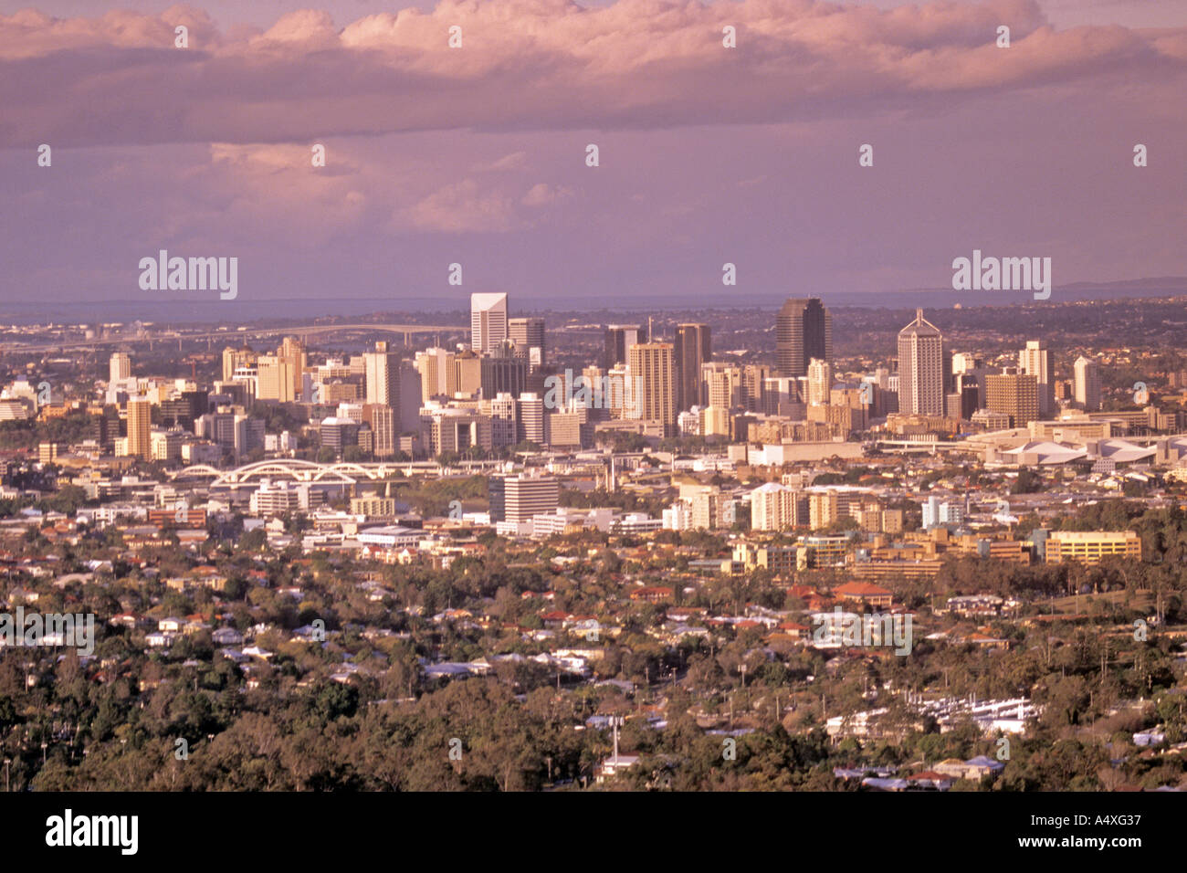 Brisbane Australia seen from Mount Cootha at sunset - Stock Image