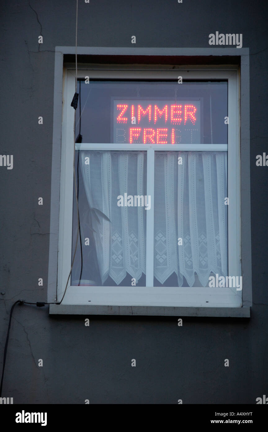 Vacancy Sign in the window of a German hotel (Zimmer frei) - Stock Image