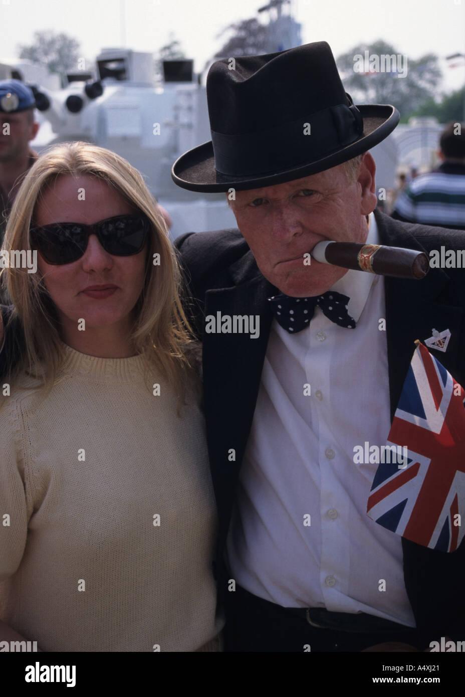 Churchill Look Alike During VE Celebrations - Stock Image