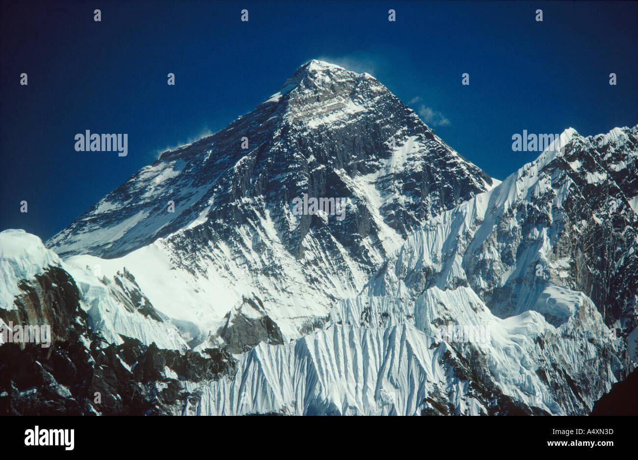 Telephoto of Everest from the summit of Kala Patar Gokyo Nepal Himalaya - Stock Image