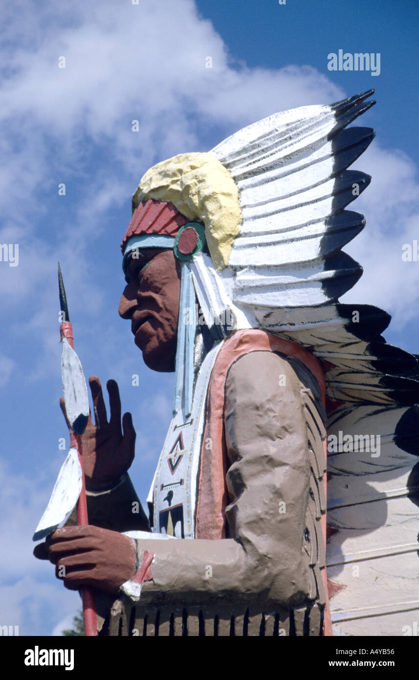 Wooden statue of native Indian chief outside a souvenir shop along the Mohawk trail Massachusetts USA - Stock Image