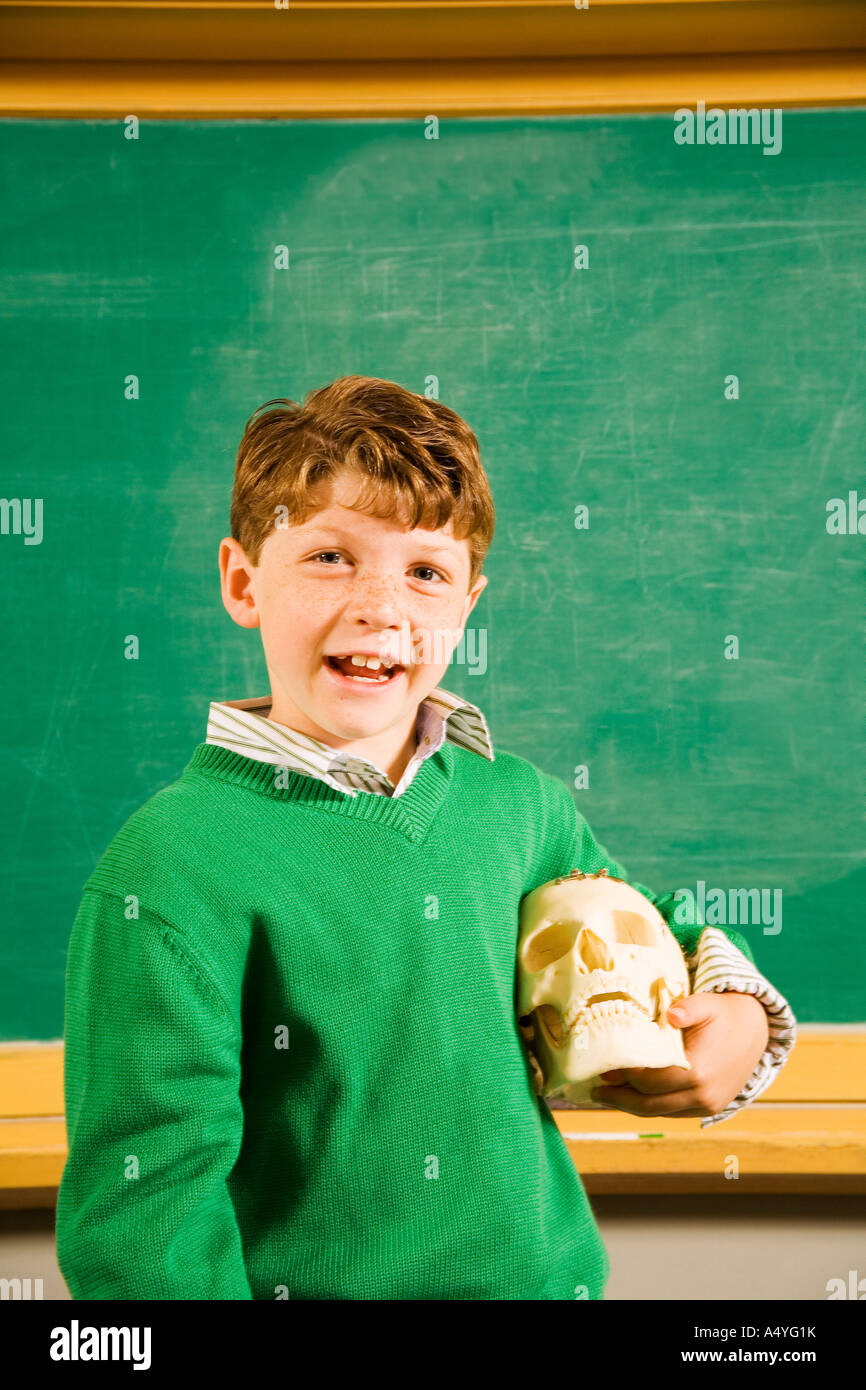Boy holding skull in classroom - Stock Image