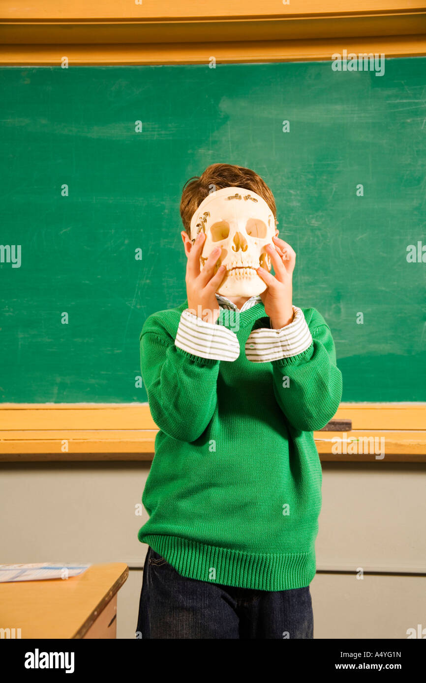 Boy holding skull over face in classroom - Stock Image