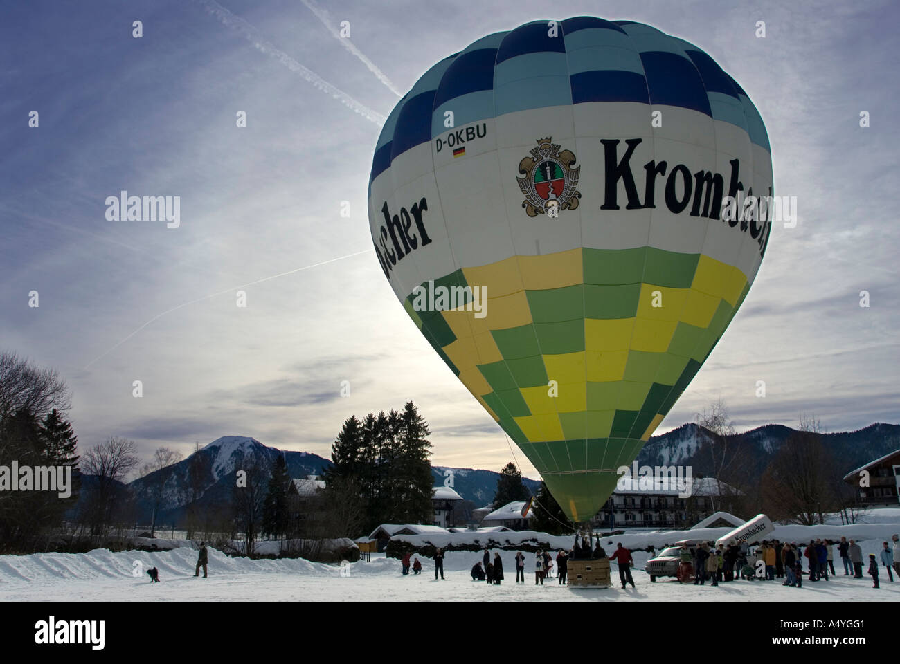 Colorful hot-air ballon just before the start, Montgolfiade Bad Wiessee, Bavaria, Germany Stock Photo