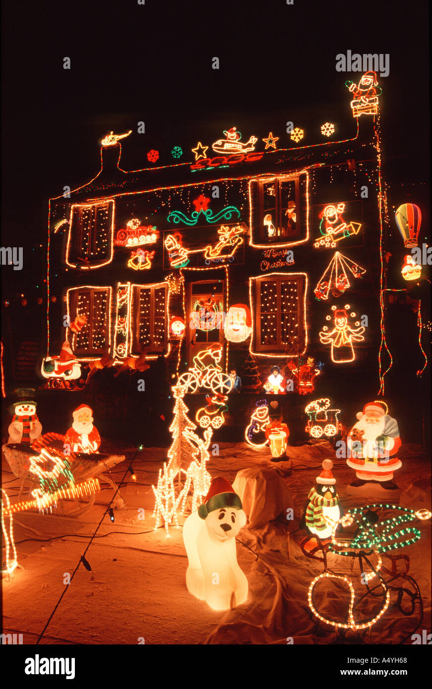 Christmas Decorations Outside House Pantperthog Machynlleth Mid Wales