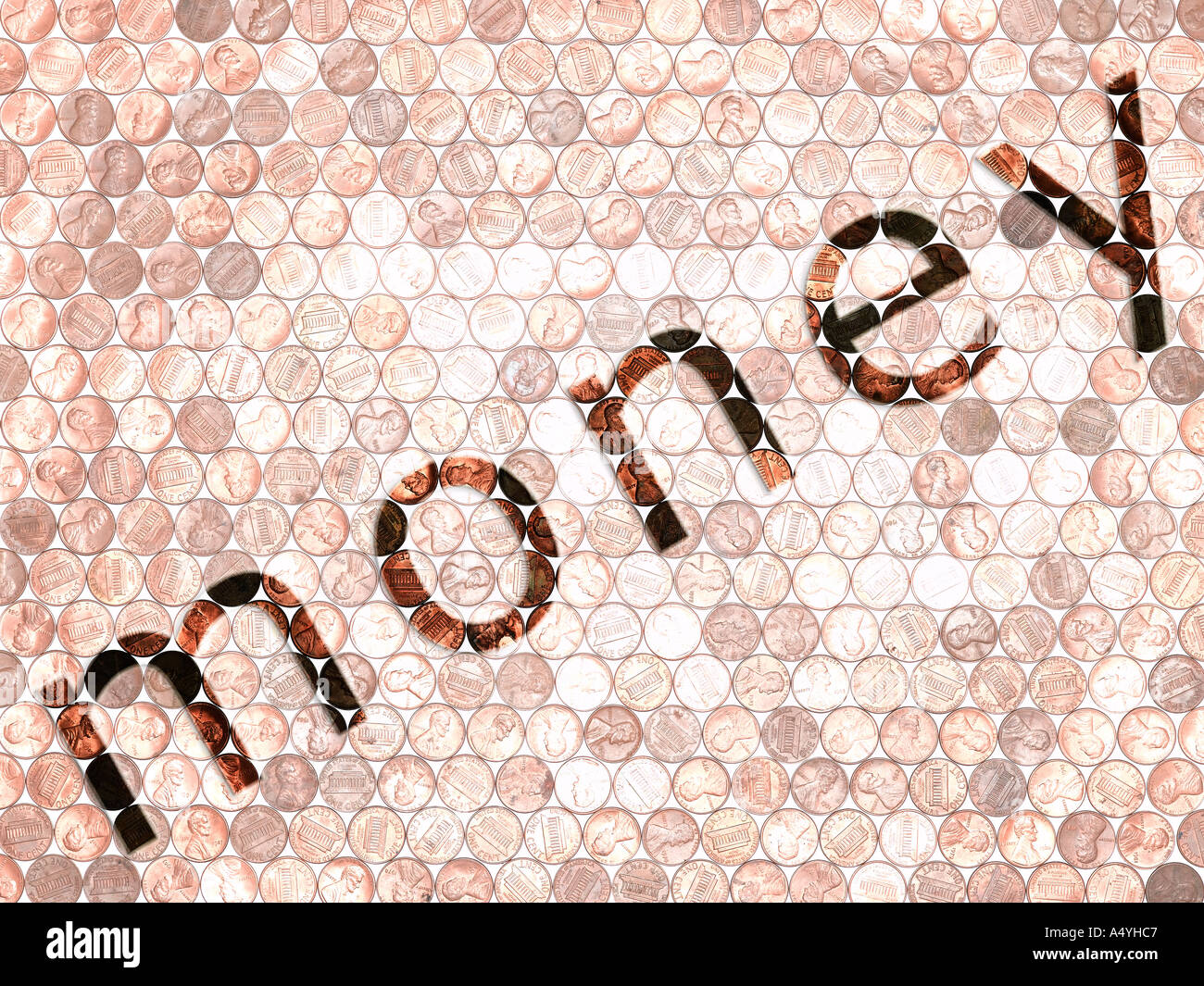 Word MONEY written on form made from coins Stock Photo