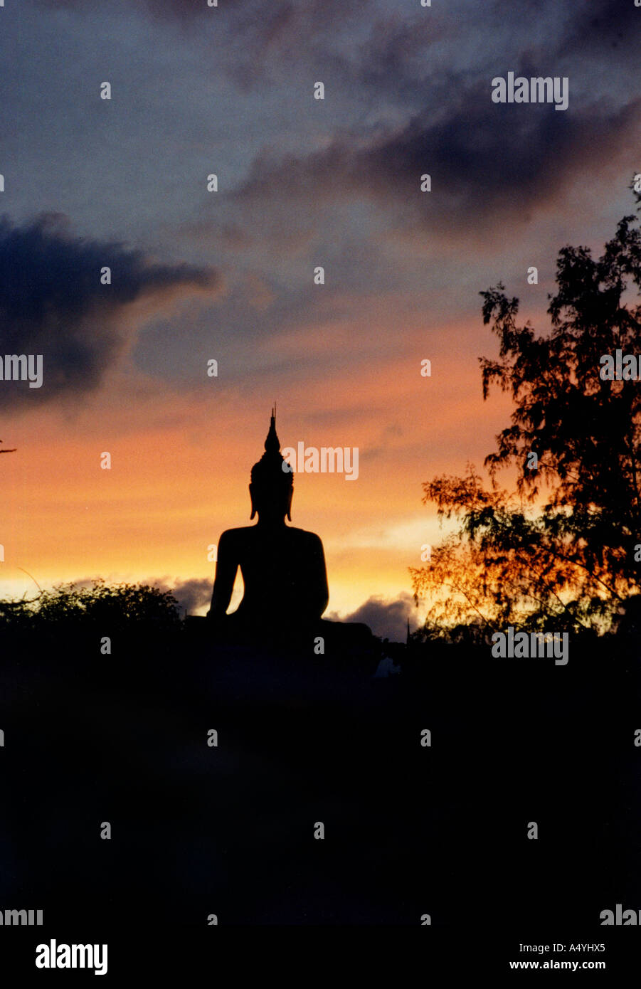 Sculpture of Buddha at afterglow - Stock Image