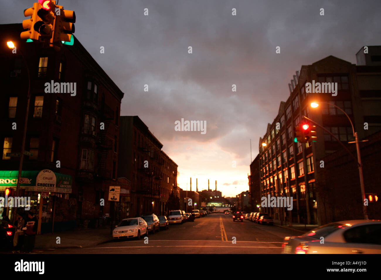 Intersection at night Greenpoint Avenue and Kent Street Brooklyn New York US - Stock Image