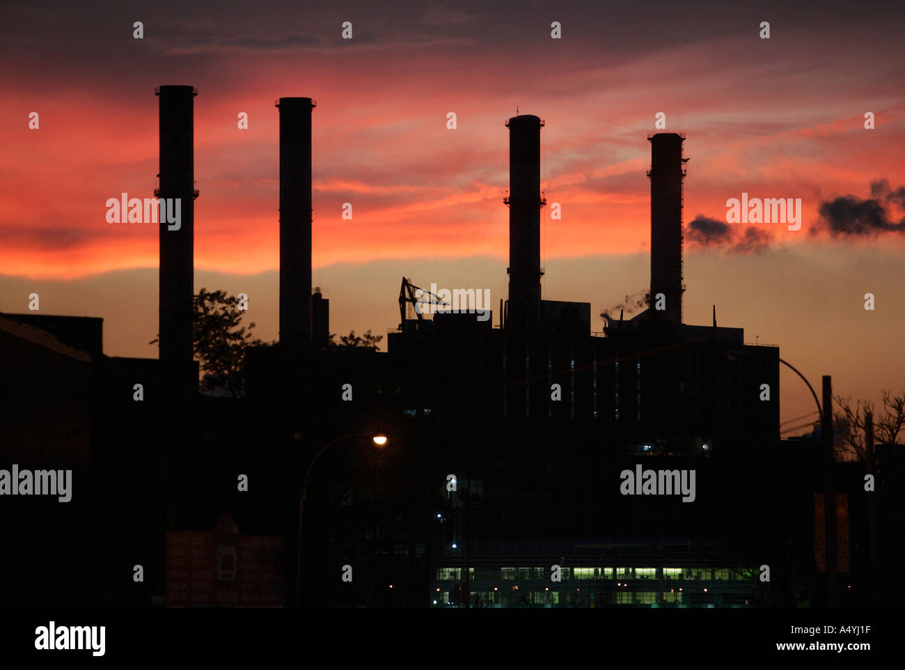 Factory after sunset Greenpoint Brooklyn New York US - Stock Image