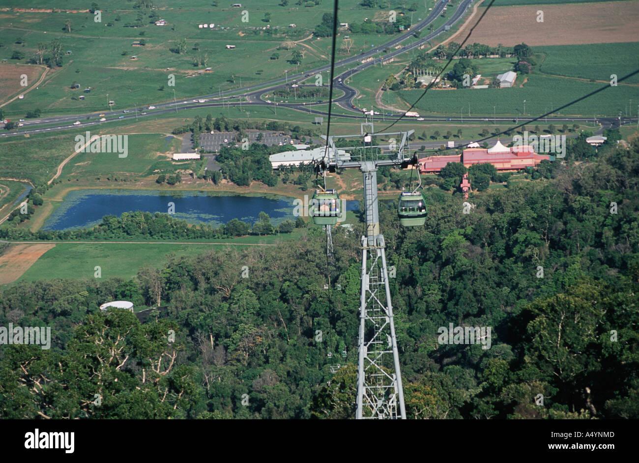 Cable Car The Kuranda Sky Train cable Cairns Queensland Australia - Stock Image