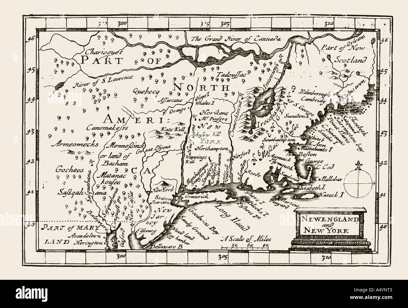 Antique map New England and New York by Petrus Kaerius 1646 from John Speed Prospect most Famous Parts of World Stock Photo