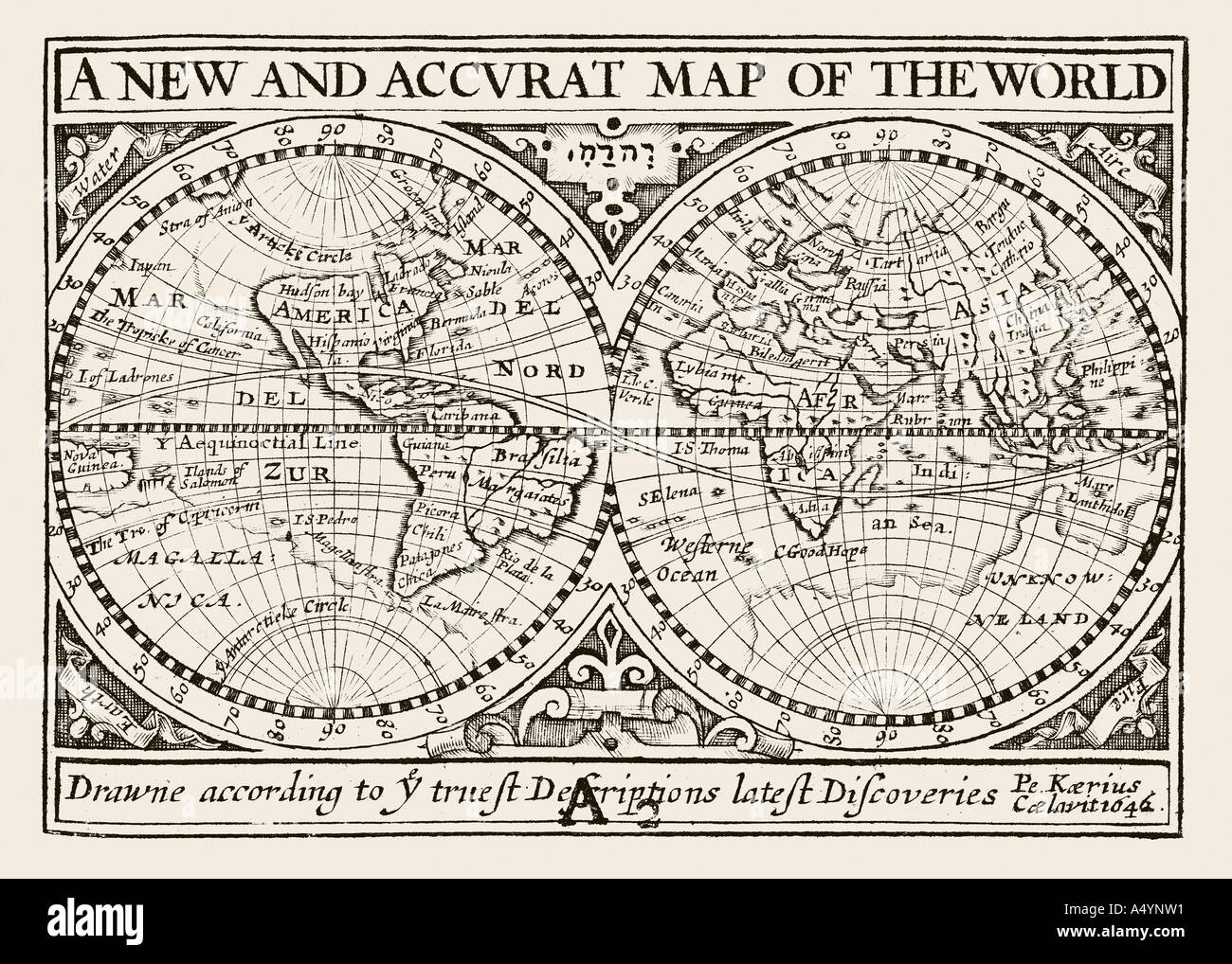 Antique map of the World by Petrus Kaerius 1646 from John Speed Prospect of the most Famous Parts of the World 1675 Stock Photo