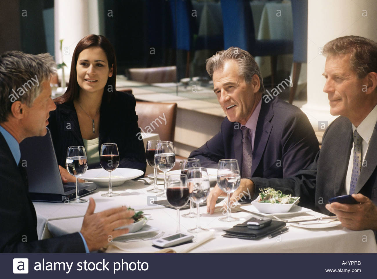 Business people in a restaurant Stock Photo