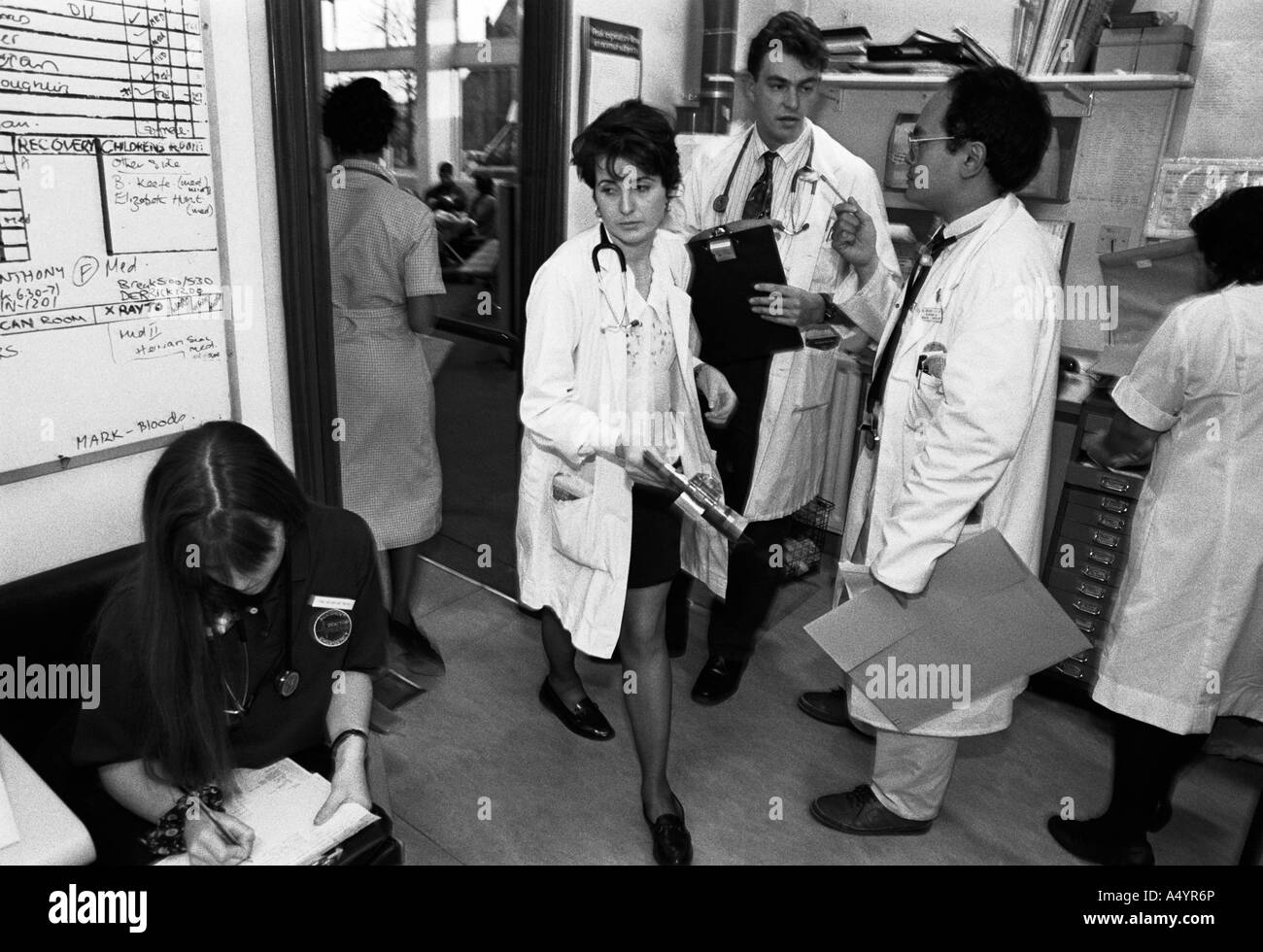 Busy doctors rushing to treat patients in the A&E Department of Dudley Rd Hospital in Birmingham, UK - Stock Image