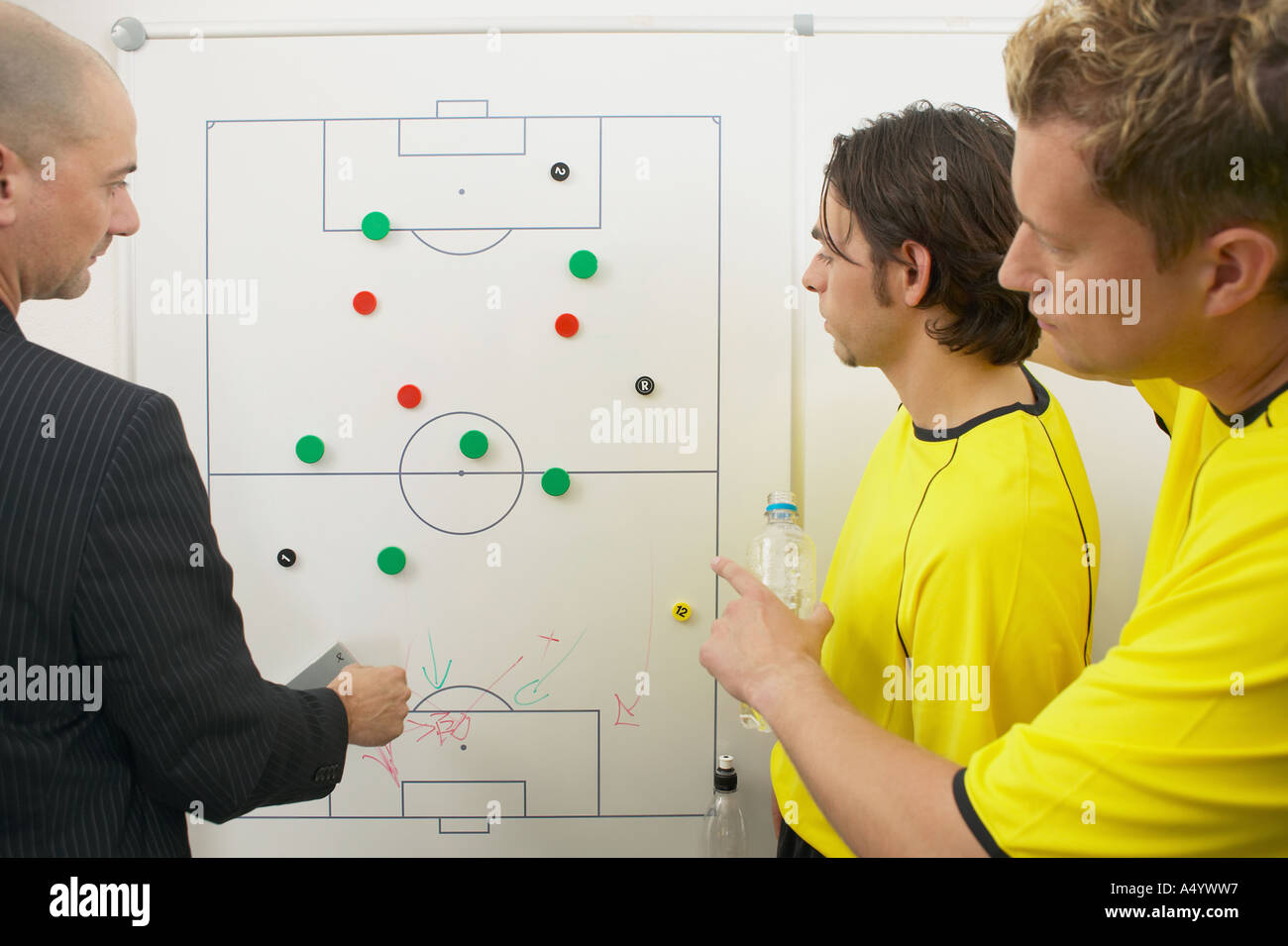 Coach and soccer players discuss strategy - Stock Image