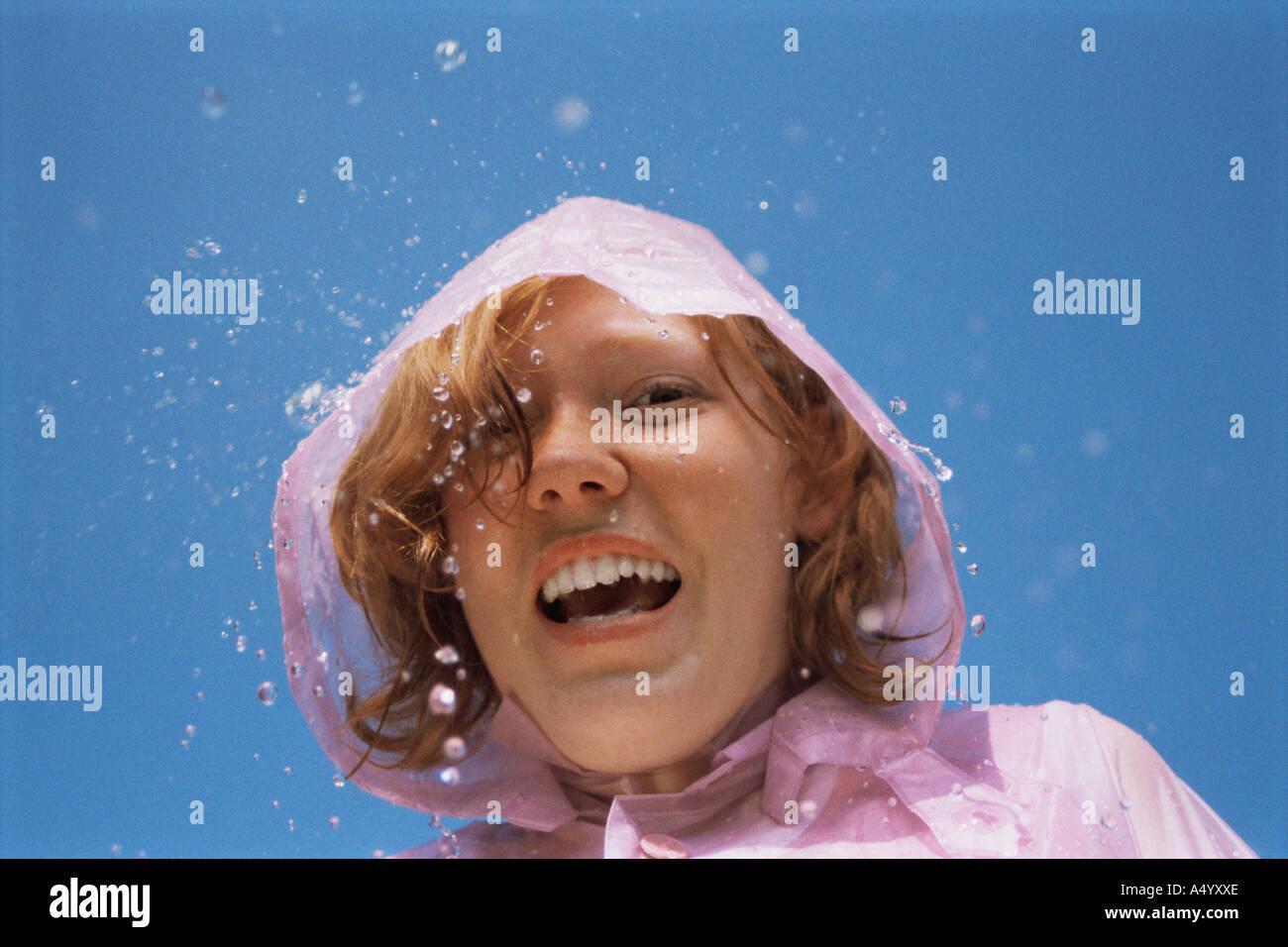 Girl wearing hood - Stock Image