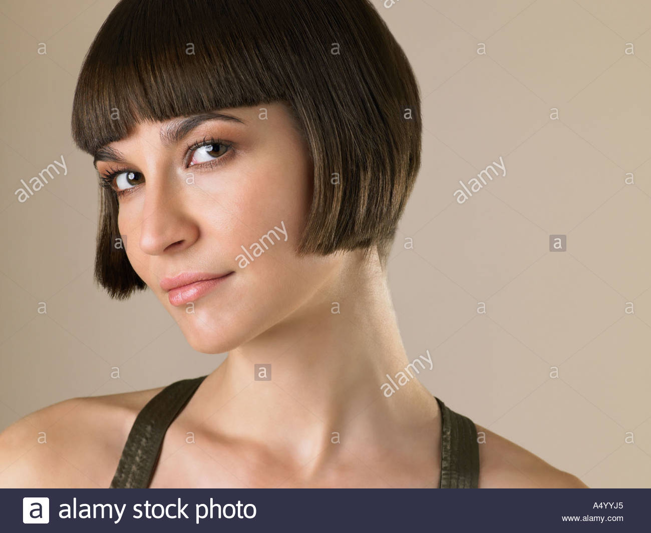 Woman with a bob hairstyle - Stock Image