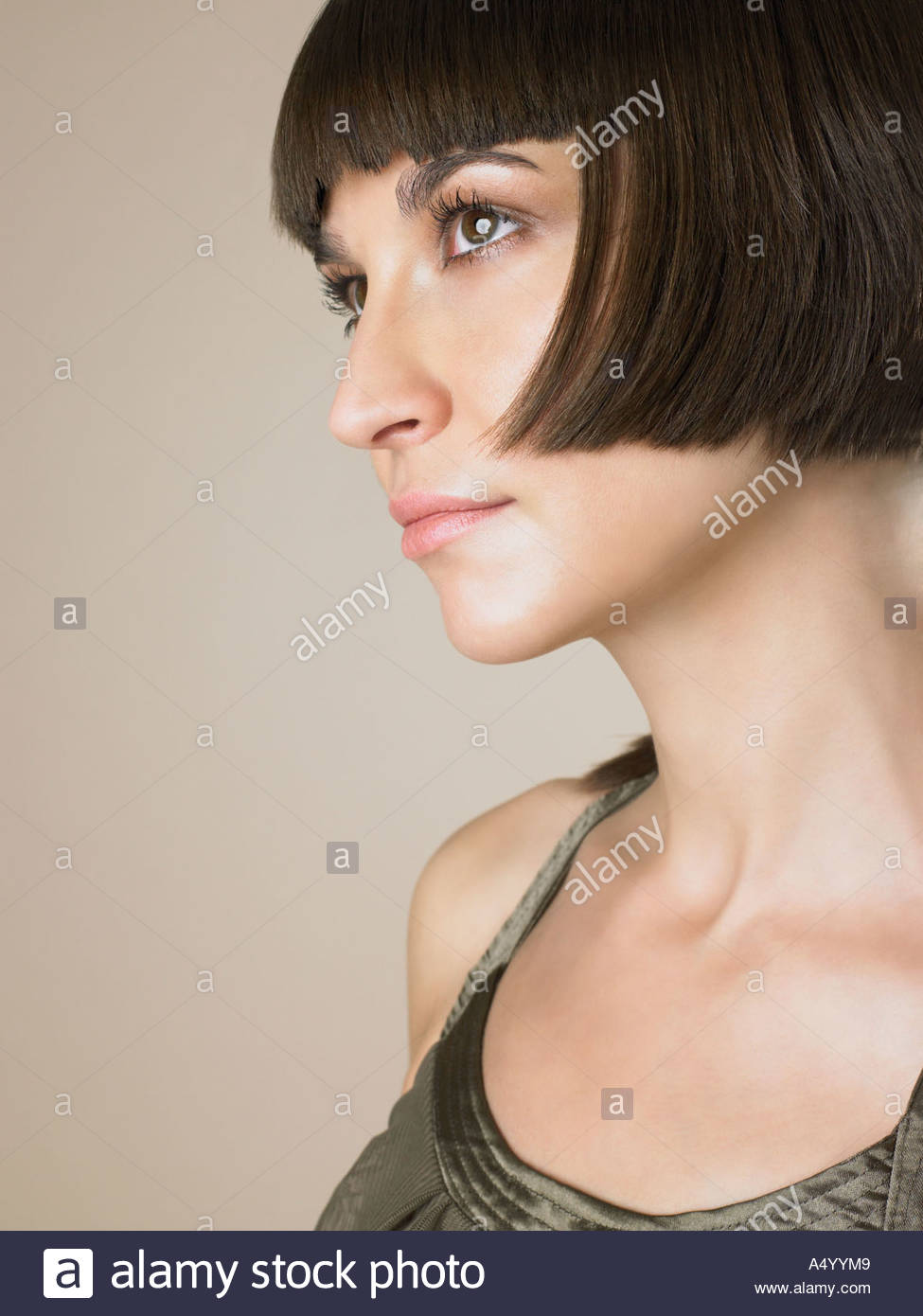 Woman with bob hairstyle - Stock Image