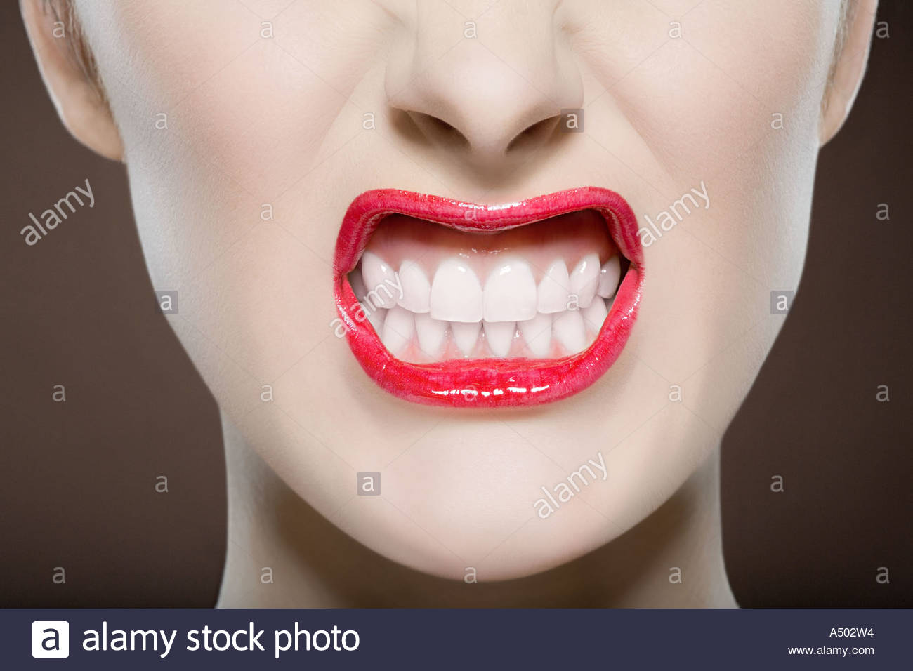 Woman snarling - Stock Image