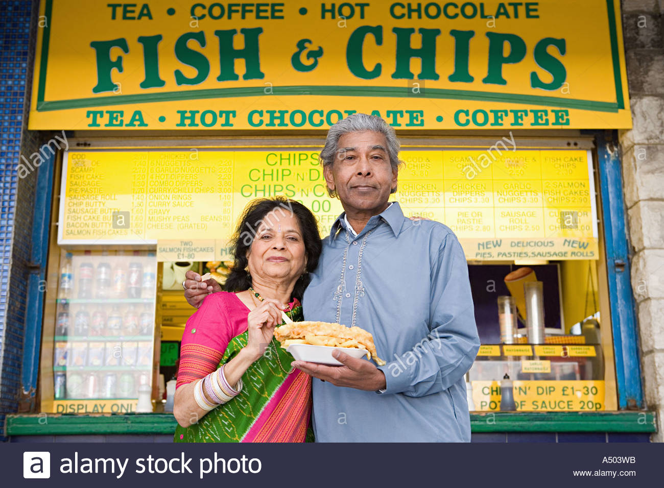 "Résultat de recherche d'images pour ""indian couple in front of fish and chips"""