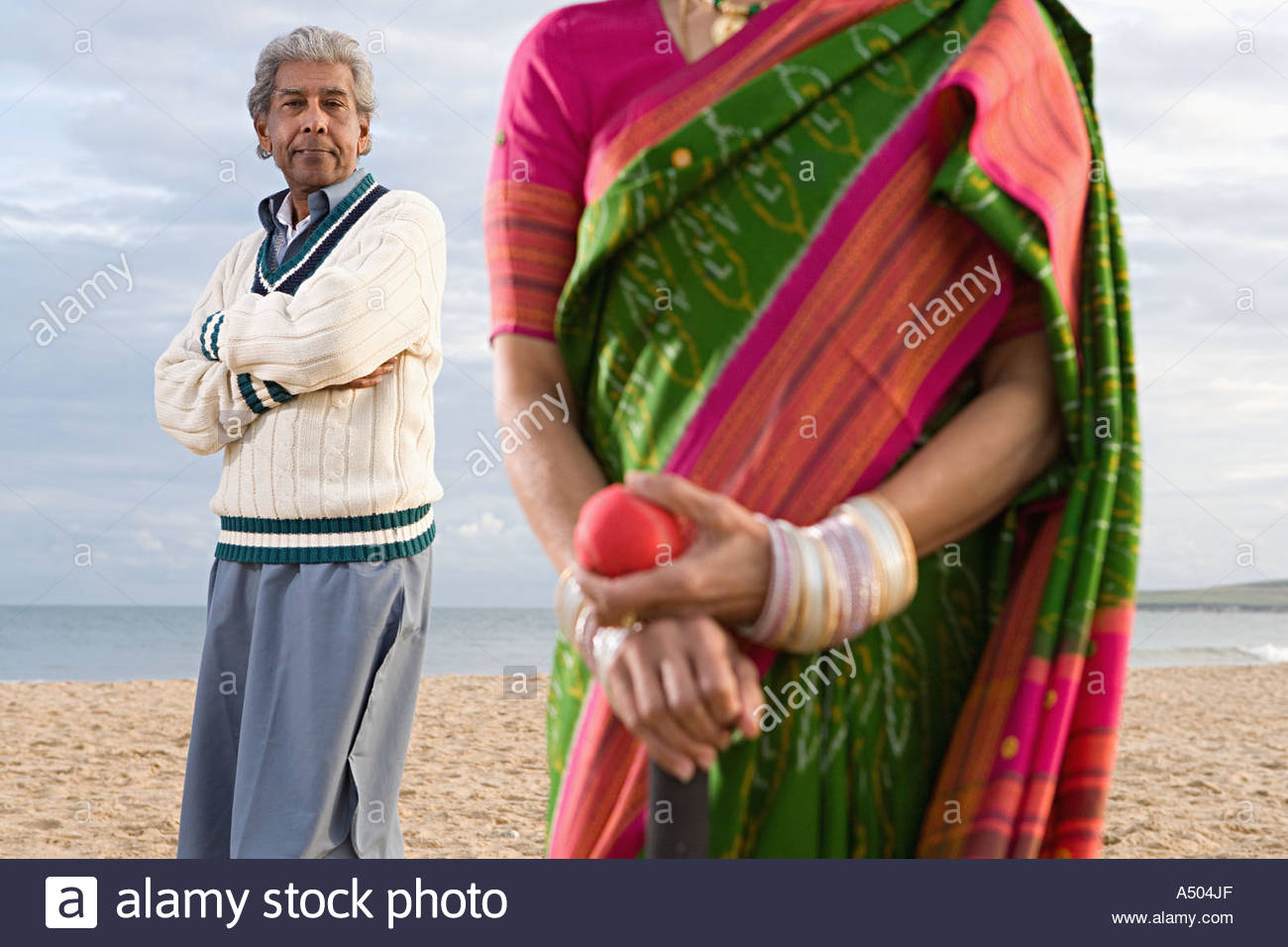 Indian couple on the beach - Stock Image