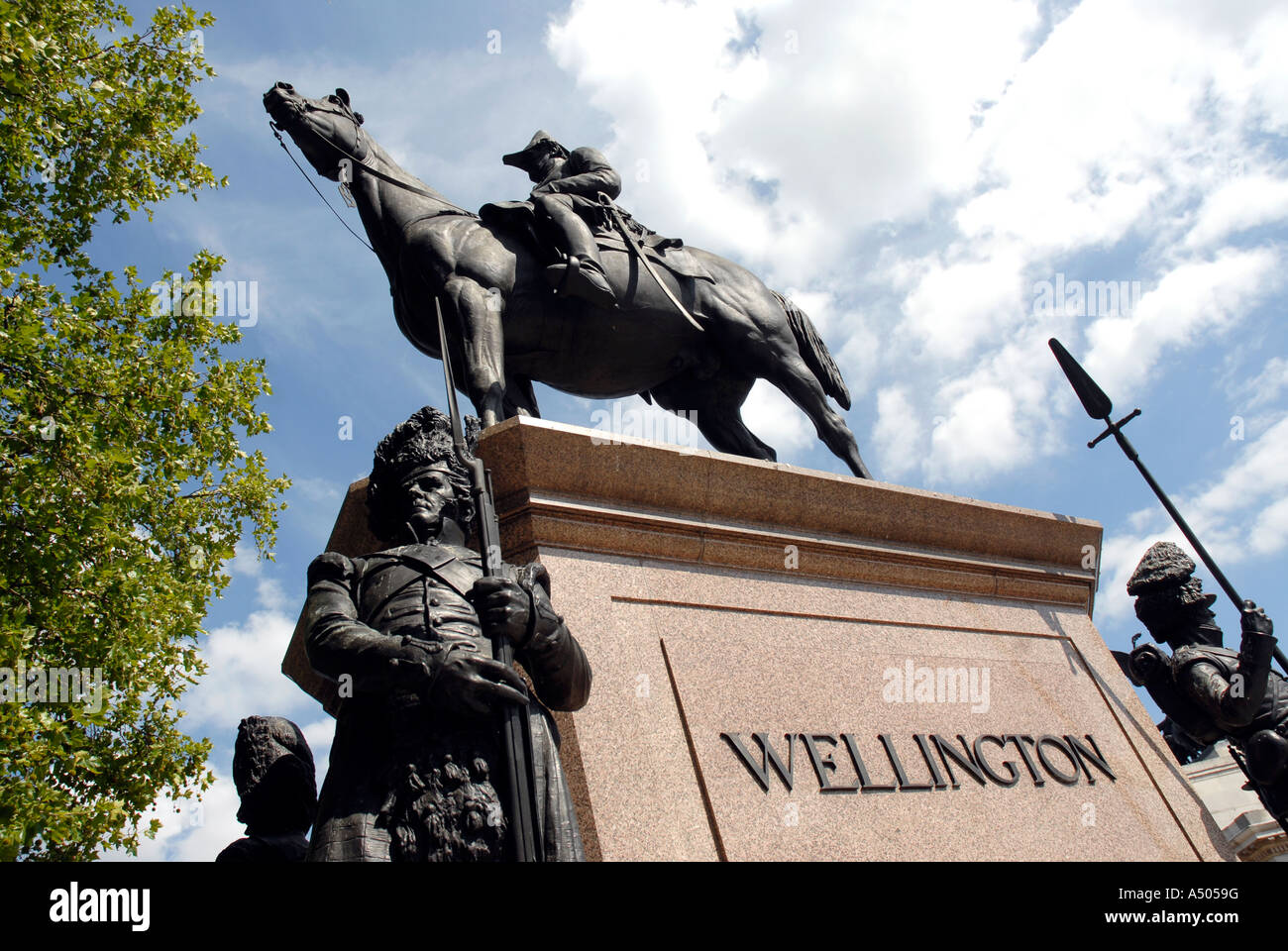 Statue of The Duke of Wellington at the Wellington Arch Hyde Park Corner London - Stock Image