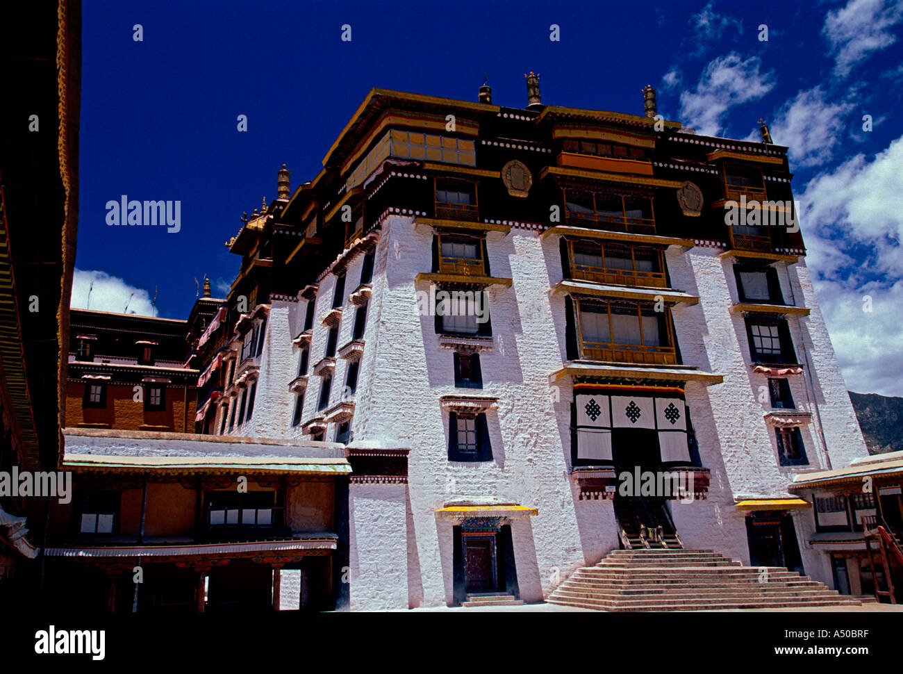 east entrance, White Palace, The Potala Palace, Potala Palace, city of Lhasa, Lhasa, Tibet, China, Asia - Stock Image