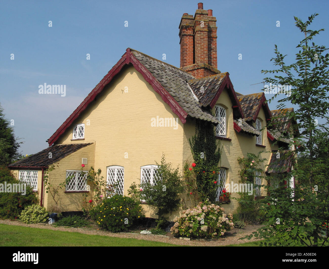 Traditional English Country Village Cottage and Garden Somerleyton Suffolk England Great Britain - Stock Image