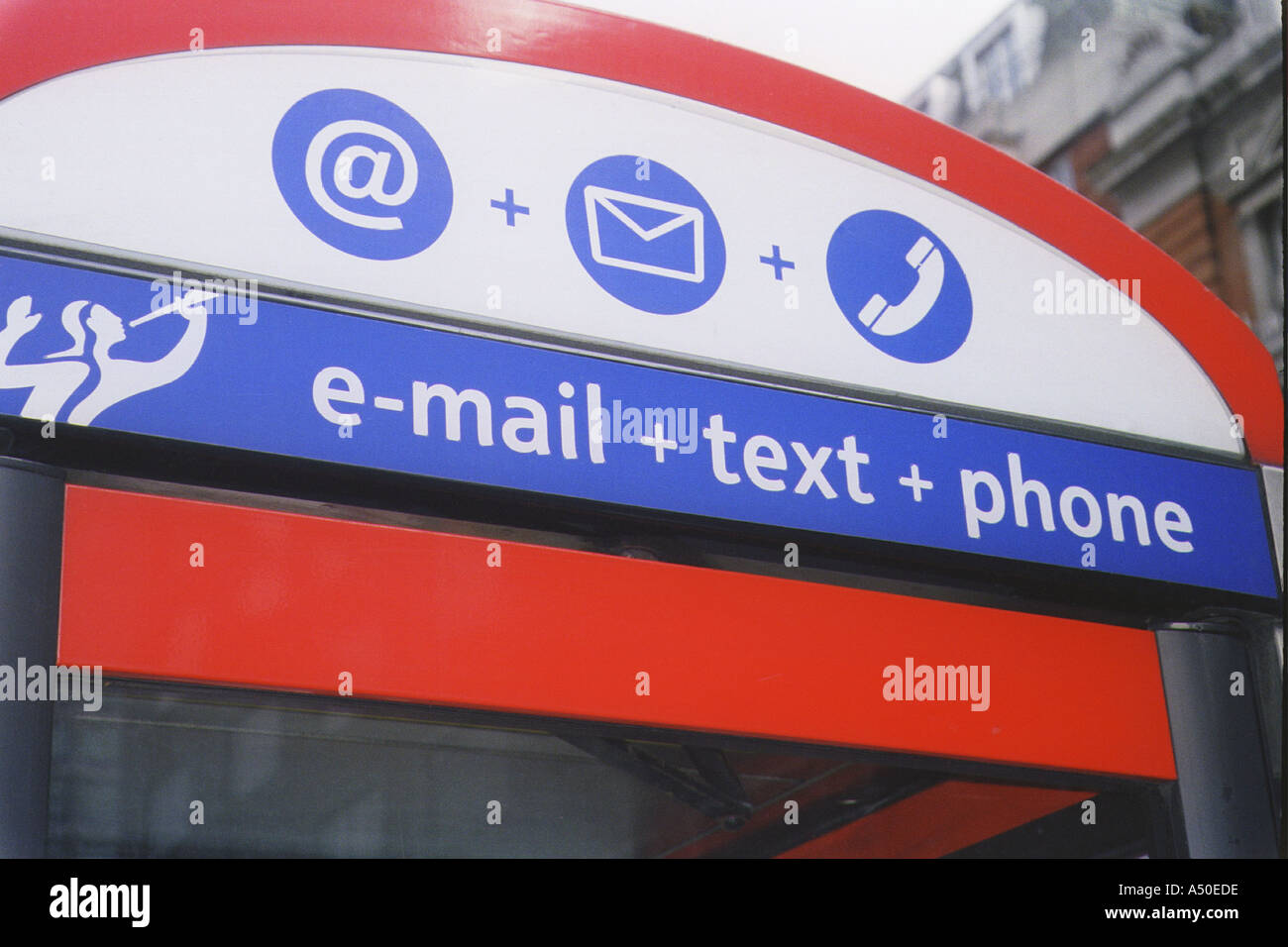Telephone Kiosk Signs E Mail Text and Phone - Stock Image