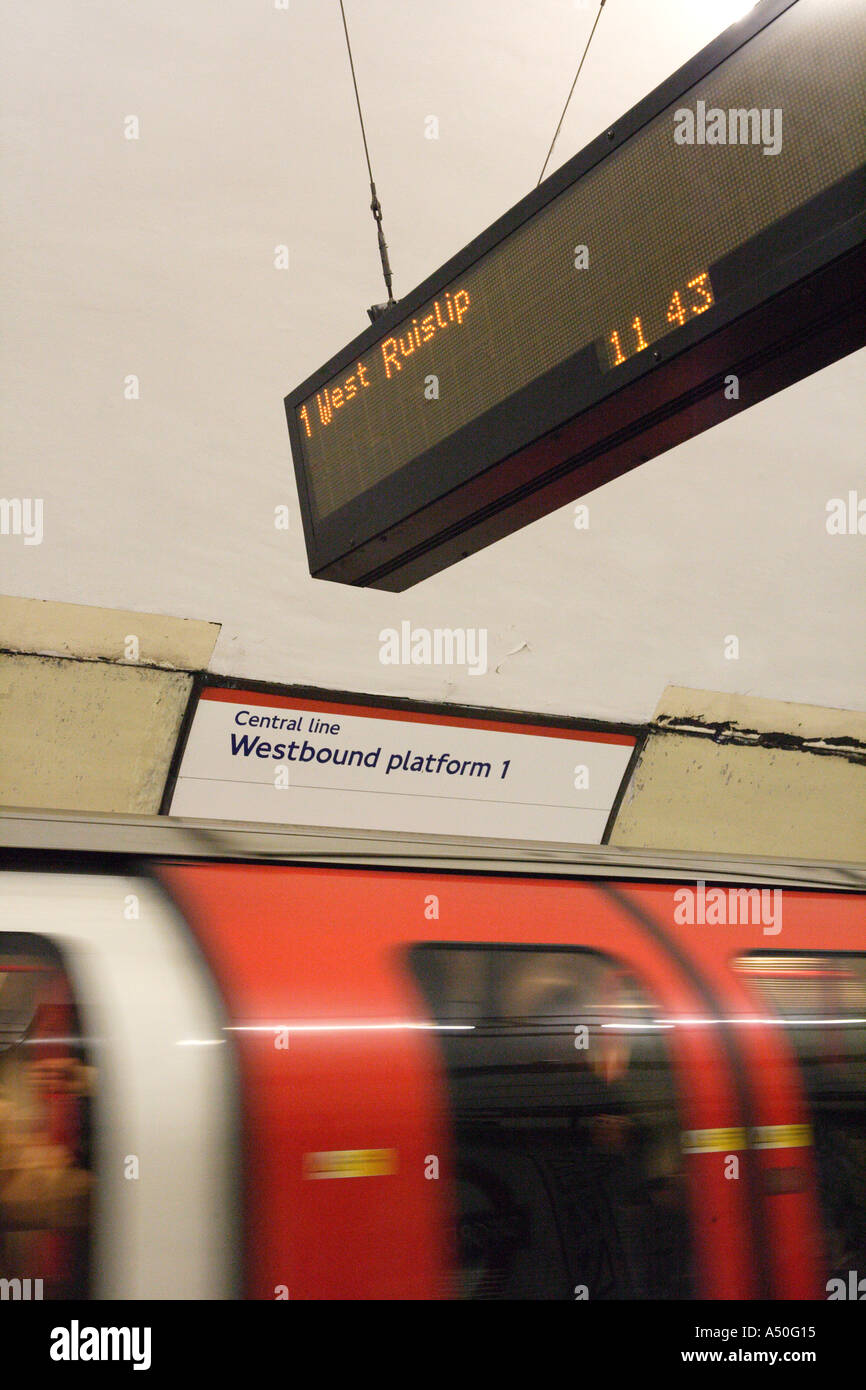 Moving Central Line Tube train London England - Stock Image